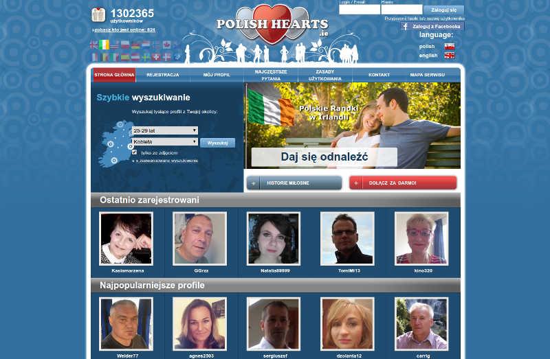 Widok strony głównej polishhearts.ie