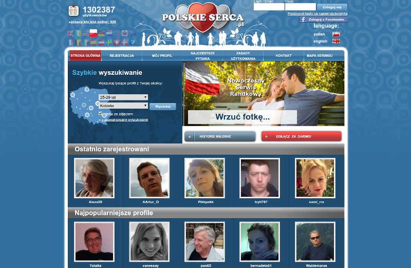 Widok portalu randkowego Polskie Serca kolor niebieski