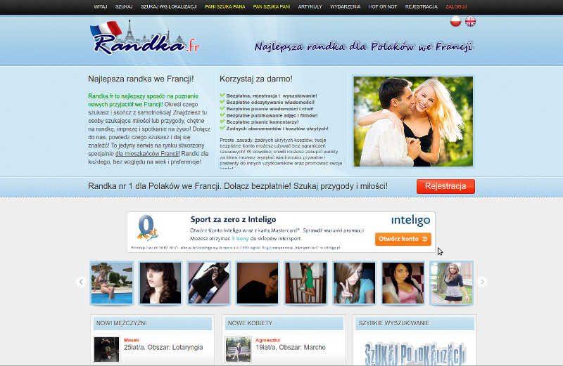 Widok strony głównej randek we francji