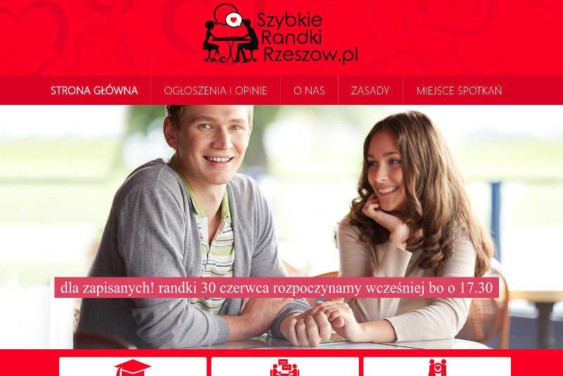 Czerwono-biała strona promująca randki w Rzeszowie